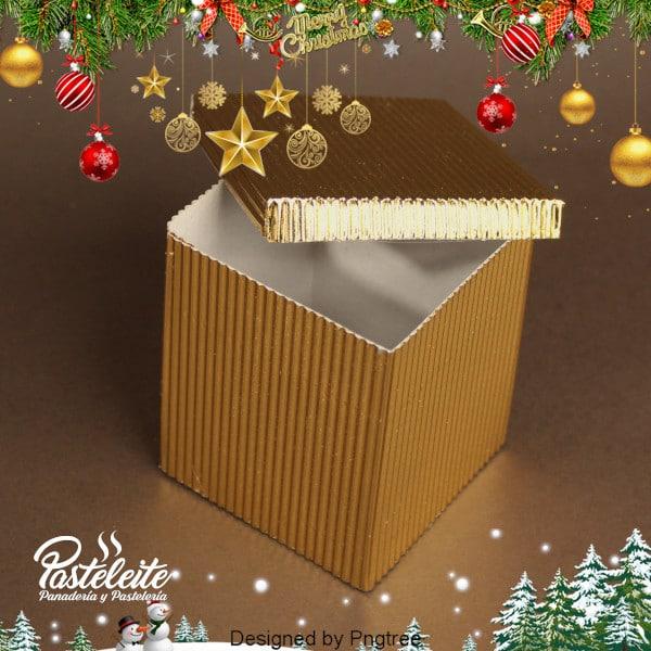 Caja 10 cm x 10 cm x 9 cm cartón corrugado dorada metalizada