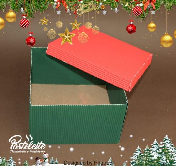Caja Cupcakes cartón corrugado verde y rojo